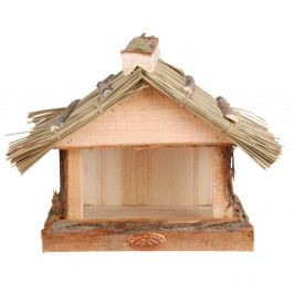 Drevené krmítko so slamenou strechou Esschert Design, výška 22,8 cm