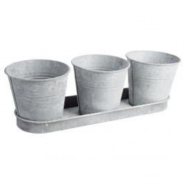 Sada 3 zinkových kvetináčov Esschert Design