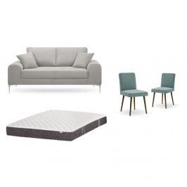 Set dvojmiestnej svetlosivej pohovky, 2 sivozelených stoličiek a matraca 140 × 200 cm Home Essentials