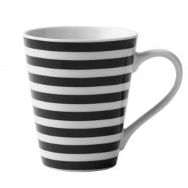 Čierno-biely porcelánový hrnček KJ Collection Striped, 300 ml