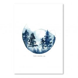 Plagát Blue Mountain, 30x42 cm