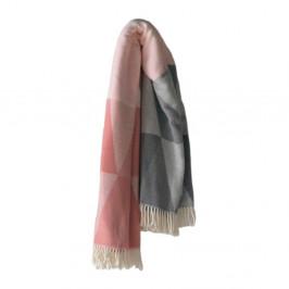 Ružovo-sivý pléd s podielom bavlny Euromant Pisa, 140x 180 cm