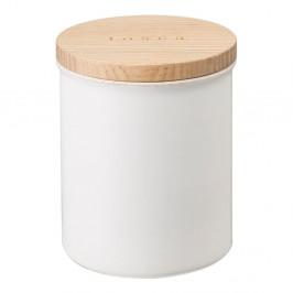 Biela dóza s bambusovým viečkom YAMAZAKI Tosca