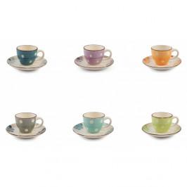 Sada 6 farebných šálok na espresso s tanierikom Villad'Este Tazzine