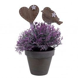 Sada 4 dekoratívnych zapichovadiel do kvetináča s motívom srdca a vtáčika Ego Dekor