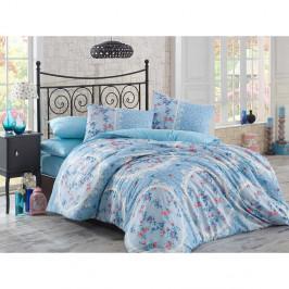 Modré obliečky z ranforce bavlny s plachtou na jednolôžko Floreada, 160×220 cm