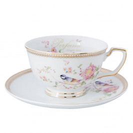 Porcelánový hrnček s tanierikom Clayre & Eef Rosetta, 150ml