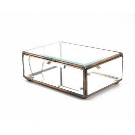 Presklený úložný box s kovovým rámom Moycor, dĺžka 15 cm