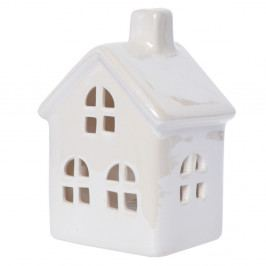 Biely keramický svietnik v tvare domčeka Ewax Maison Enniege, výška 11 cm