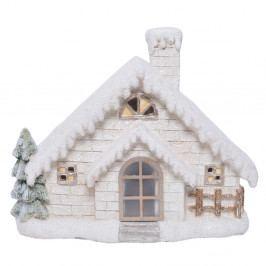 Biela keramická dekorácia v tvare domčeka Ewax Enchanted House, výška 33 cm