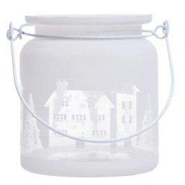 Biely sklenený svietnik Ewax Village, ⌀ 8 cm