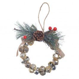 Závesný dekoratívny veniec Ewax Jingle Bells, ⌀ 10 cm
