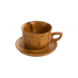 Šálka s tanierikom z bambusového dreva Bambum Cortado, 120 ml