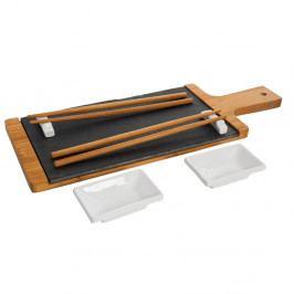 Set servírovacího podnosu z bridlice a bambusového dreva a paličiek s miskami Bambum