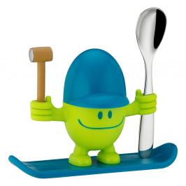 Modro-zelený stojan na vajíčko s lyžičkou WMF Cromargan® Mc Egg