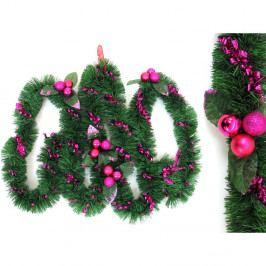 Dekoratívna vianočná girlanda s detailmi v ružovej farbe Unimasa Tinsel, dĺžka 3 m