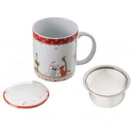 Porcelánový hrnček s vrchnákom a filtrom Unimasa