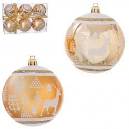 Sada 6 vianočných ozdôb v zlatej farbe Unimasa Reindeer