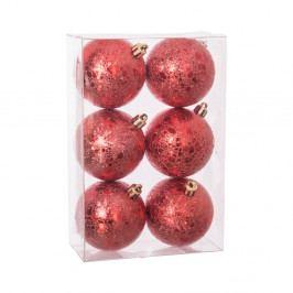 Sada 6 vianočných ozdôb v červenej farbe Unimasa Wrinkled