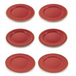 Sada 6 červených vianočných dekoratívnych plastových tanierov Villa d'Este XMAS Piatto Rosso Bordo Decorato, ⌀ 33 cm