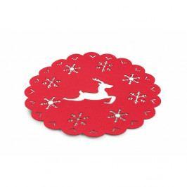 Červené vianočné prestieranie Villa d'Este XMAS Tovaglietta Rossa Tonda Fiocco, ⌀ 38 cm