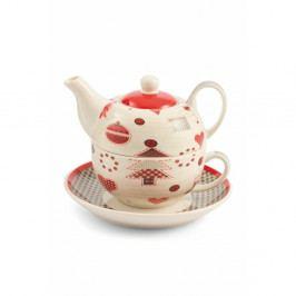 Čajová kanvica s hrnčekom a tanierikom z kostného porcelánu Villa d'Este Patchwork Tea For One