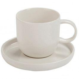 Biely hrnček s tanierikom J-Line Edge, 14 cm