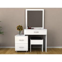 Set bieleho toaletného stolíka so zrkadlom a stoličkou Nice