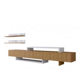 Set TV komody a nástennej police v dekore teakového dreva Nirvana