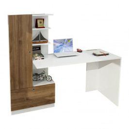 Biely pracovný stôl s knižnicou v dekore orechového dreva Domingos