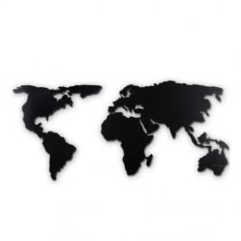 Čierna nástenná kovová dekorácia World Map XL