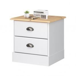 Biely nočný stolík s 2 zásuvkami Støraa Leander
