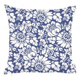 Modrá obliečka na vankúš Apolena Flowers, 43×43 cm