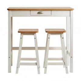 Biely barový stolík s 2 stoličkami z masívneho borovicového dreva Marckeric Caya