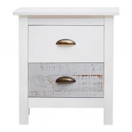 Bielo-sivý nočný stolík Marckeric Romantica, 46 × 50 cm