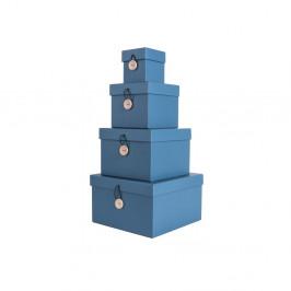 Sada 4 modrých úložných boxov s vekom PT LIVING Uniform