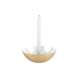 Biely svietnik s detailom v zlatej farbe PT LIVING Tub, ⌀ 17 cm