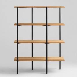 Knižnica s čiernou konštrukciou a dubovými policami Custom Form Rave, výška 150 cm