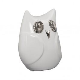 Biela keramická dekoratívna soška Mauro Ferretti Gufo Funny Owl, výška 13 cm