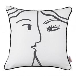 Čierno-biela obliečka na vankúš Mike&Co.NEWYORK Line Faces, 43 × 43 cm