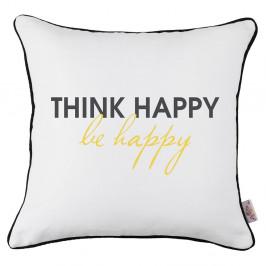 Čierno-biela obliečka na vankúš Apolena Think Happy, 43×43 cm