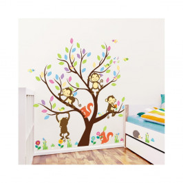 Sada nástenných detských samolepiek Ambiance Monkey On The Tree
