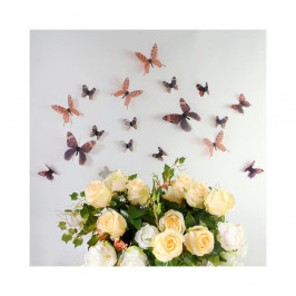 Sada 18 hnedých adhezívnych 3D samolepiek Ambiance Butterflies Chic
