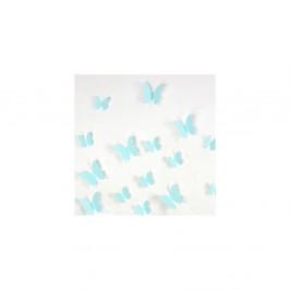 Sada 12 tyrkysových adhezívnych 3D samolepiek Ambiance Butterflies