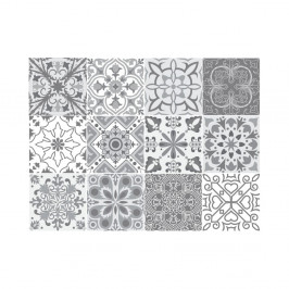 Sada 12 nástenných samolepiek Ambiance Wall Decal Tiles Grey and White Torino, 15×15 cm