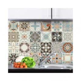Sada 24 nástenných samolepiek Ambiance Wall Stickers Cement Tiles Rumba, 20×20 cm