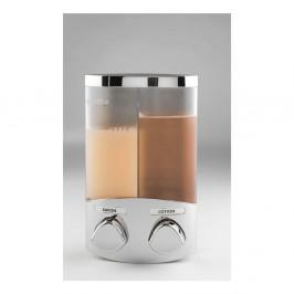 Dvojitý strieborný dávkovač na mydlo Compactor Uno, objem 2 x 310 ml
