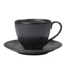 Čierna kameninová šálka s tanierikom Bitz Mensa