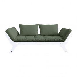 Rozkladacia pohovka so zeleným poťahom Karup Design Bebop White/Olive Green