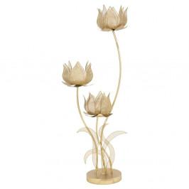 Železný svietnik na 3 sviečky v zlatej farbe Mauro Ferretti Flowery, výška 97 cm